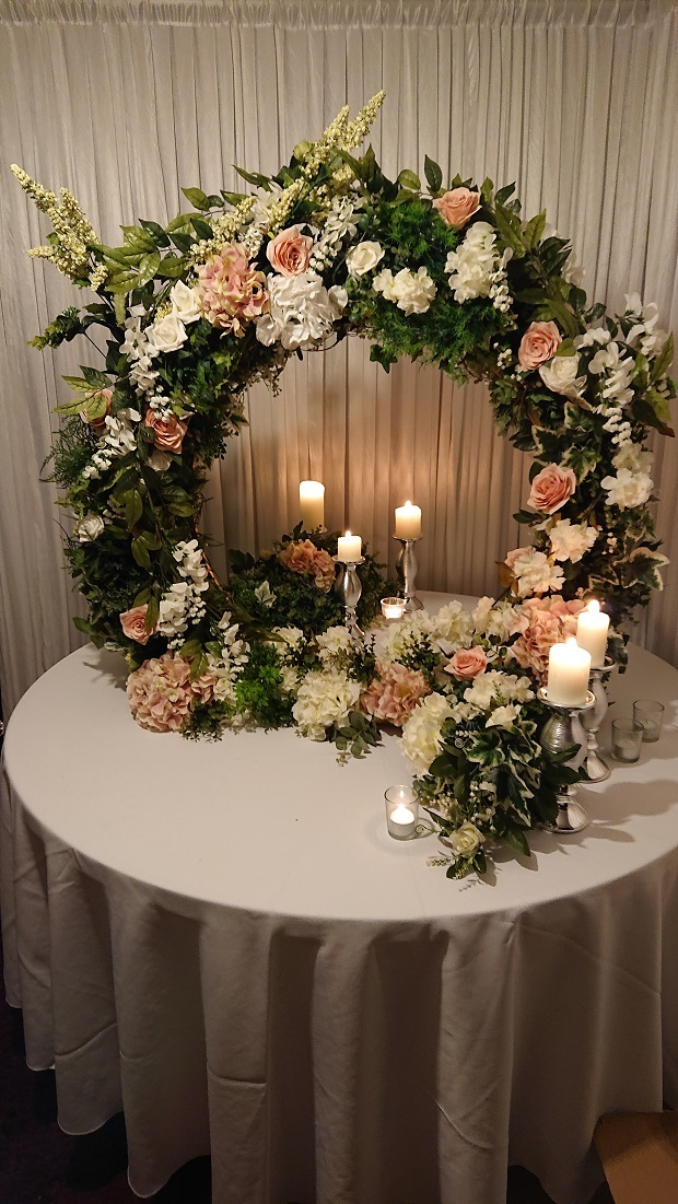 Full floral hoop and candles