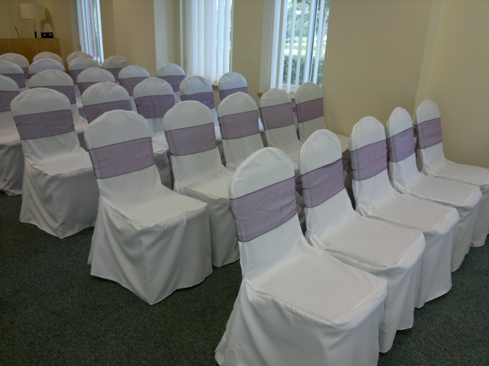 Incroyable Wedding Chair Covers At De Vere Cheadle House » Chair Covers And Aubergine  Sash (6)