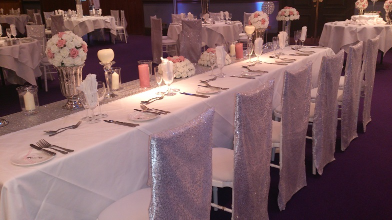 Silver themed wedding decorations