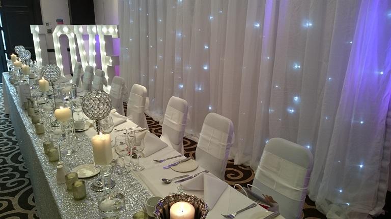 silver themed wedding venue dressing