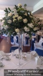 Large white rose and crystal droplet centrepiece